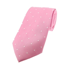 The Silk Tie Company - Pink and White Polka Dot - 100% Silk Tie