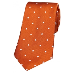 The Silk Tie Company - Burnt Orange and White Polka Dot - 100% Silk Tie