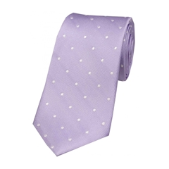 The Silk Tie Company - Lilac and White Polka Dot - 100% Silk Tie