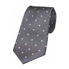The Silk Tie Company - Dark Charcoal and White Polka Dot - 100% Silk Tie
