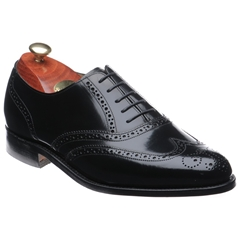 Barker Albert Shoes - Full-Brogue Oxford - Black Hi-Shine