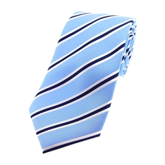 The Silk Tie Company - Navy,Sky and White Striped - 100% Silk Tie