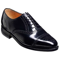 Barker Alfred Shoes - Half-Brogue Oxford - Black Hi-Shine