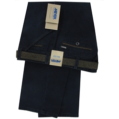 Meyer Trousers Micro-Design Cotton - Navy - Style Chicago 5533 18