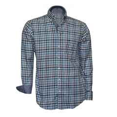 Fynch-Hatton Shirt - Navy Stone Check - Size XXL Only