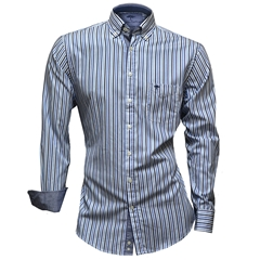Fynch-Hatton Shirt - Navy Blue Premium Soft Twill Stripe - Size XXL Only
