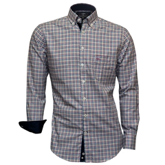 Fynch-Hatton Shirt - Taupe Amethyst Superfine Twill Check - Size XXL Only