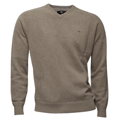 Fynch Hatton Wool & Cashmere V-Neck - Beige