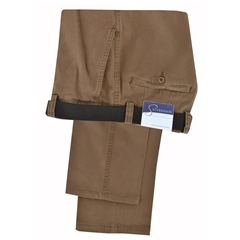 Gurteen Longford Mid Weight Cotton Trouser - Tan - Online Exclusive