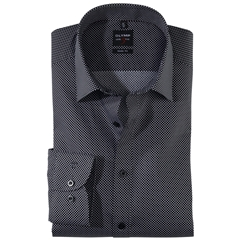 Olymp Level Five Body Fit Shirt  - Black and White Diamond Design