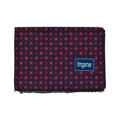 Men's Knitted Scarf - Silk Spotted Navy Scarf - Red/Navy