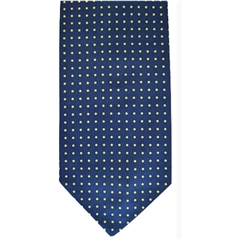 Mens Silk Cravat - Blue with Yellow Polka Dot