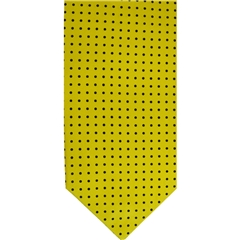 Mens Silk Cravat - Yellow with Black Polka Dot
