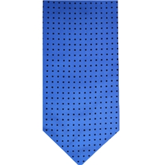 Mens Silk Cravat - Royal Blue with Black Polka Dot