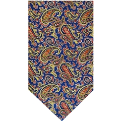 Royal Blue Silk Cravat with Gold Paisley