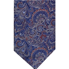 Navy Silk Cravat with Silver Paisley