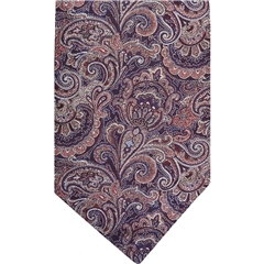 Wine Silk Cravat with Pink Paisley