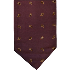 Wine Silk Cravat with Small Golden Paisley Design