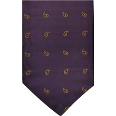 Purple Silk Cravat with Small Golden Paisley Design