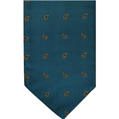 Teal Silk Cravat with Small Golden Paisley Design