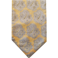 Yellow Silk Cravat with Silver Paisley Design