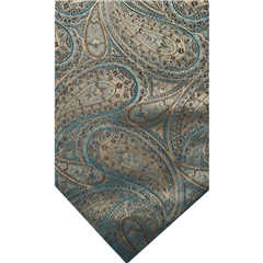 Teal Silk Cravat with Ecru Paisley Design