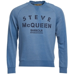 New 2018 Barbour Men's Intl Steve McQueen Stencil Crew Sweater - Chambray Blue - Size 2XL Only