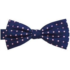 Ready Tied Bow Tie - Navy and Pink Polka Dots