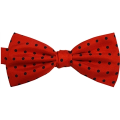 Ready Tied Bow Tie - Red and Black Polka Dots