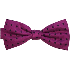 Ready Tied Bow Tie - Purple and Black Polka Dots