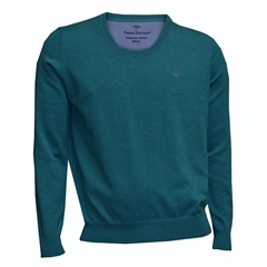 Fynch Hatton Superfine Cotton Crew-Neck - Topaz