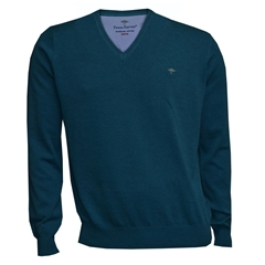 Fynch Hatton Superfine Cotton V Neck - Shore