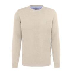 Fynch Hatton Superfine Cotton Crew Neck Sweater - Seashell