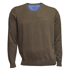Fynch Hatton Superfine Cotton Crew-Neck - Taupe