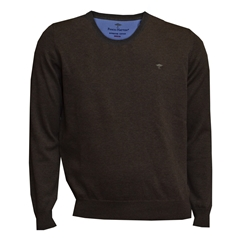 Fynch Hatton Superfine Cotton Crew-Neck - Earth