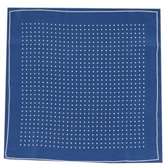 Mens Silk Pocket Handkerchief - Navy With White Spots and Border