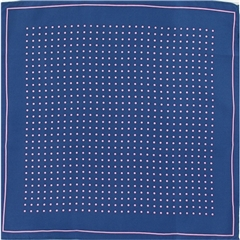 Mens Silk Pocket Handkerchief - Navy With Pink Spots and Border