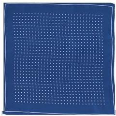 Mens Silk Pocket Handkerchief - Navy With Lilac Spots and Border
