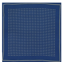 Mens Silk Pocket Handkerchief - Navy With Yellow Spots and Border