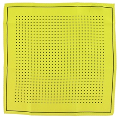 Mens Silk Pocket Handkerchief - Yellow With Black Spots and Border