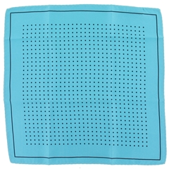 Mens Silk Pocket Handkerchief - Torquoise With Black Spots and Border