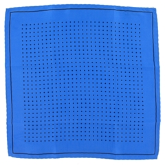 Mens Silk Pocket Handkerchief - Royal Blue With Black Spots and Border
