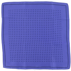 Mens Silk Pocket Handkerchief - Violet With Black Spots and Border