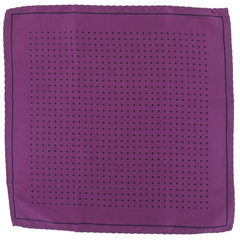 Mens Silk Pocket Handkerchief - Purple With Black Spots and Border