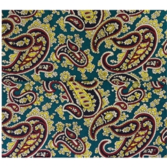 Mens Printed Silk Pocket Handkerchief - Teal Paisley Design