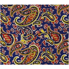 Mens Printed Silk Pocket Handkerchief -  Royal Blue Paisley Design