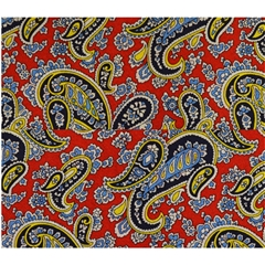 Mens Printed Silk Pocket Handkerchief -  Red Paisley Design