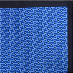 Mens Printed Silk Twill Pocket Handkerchief -  Royal Blue Neat Design