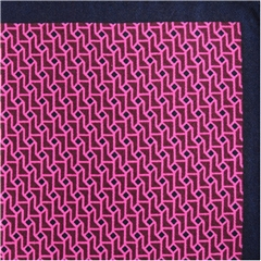 Mens Printed Silk Twill Pocket Handkerchief -  Pink Neat Design