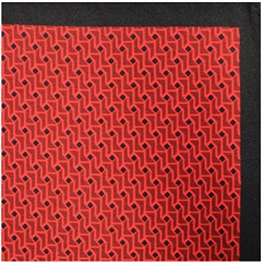 Mens Printed Silk Twill Pocket Handkerchief - Red Neat Design